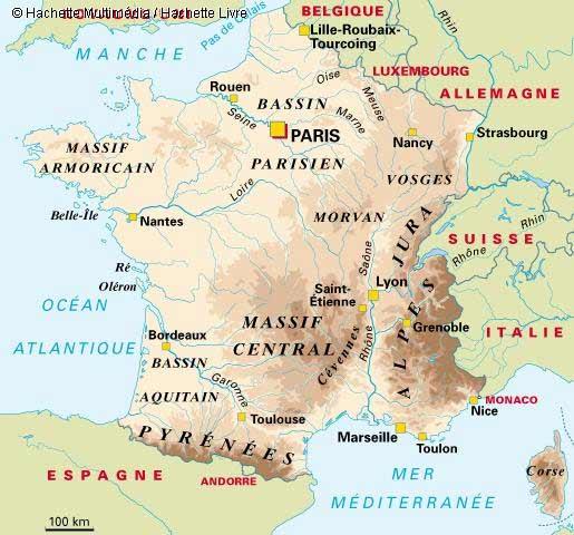 La carte géographique de la france