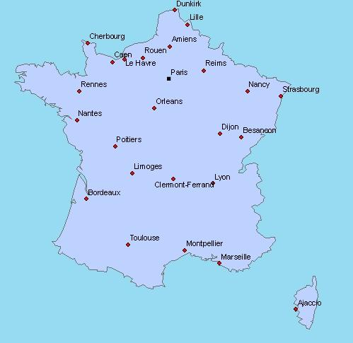 Carte de france vierge avec villes principales