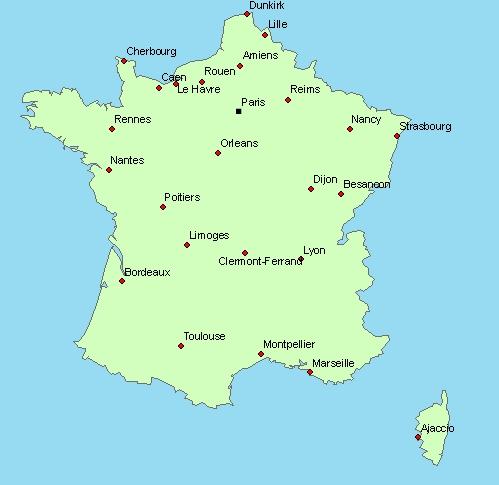 Carte de france villes vierge