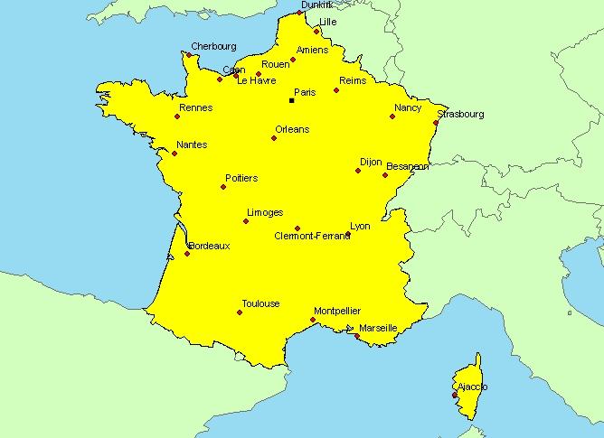 Carte de france avec villes principales