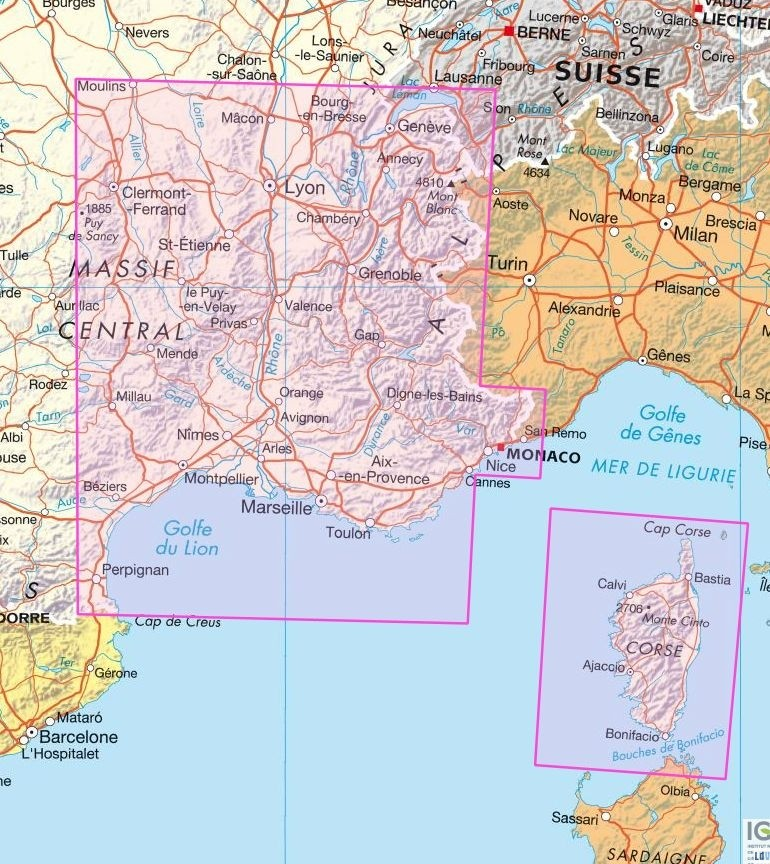 Carte de france sud est