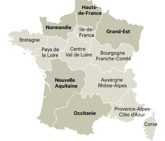 Les régions de france 2016