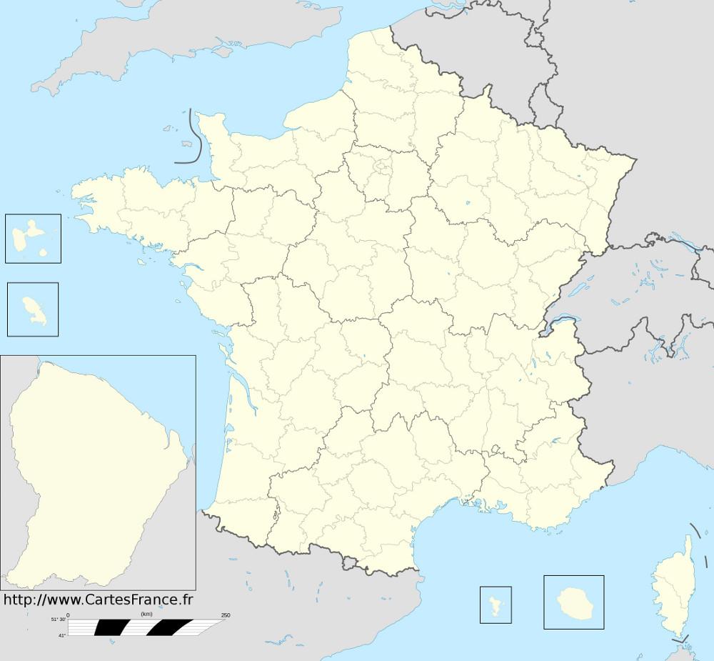 Carte des départements 2015