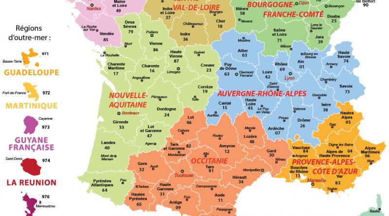 Carte de france region et departement - altoservices