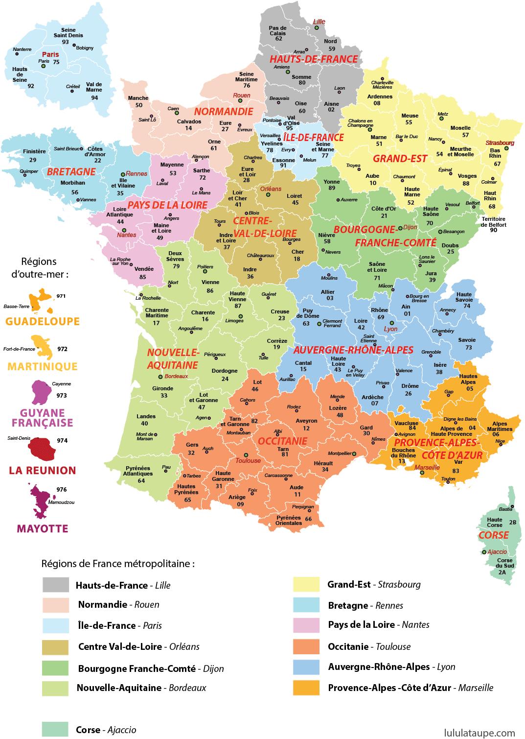 Carte de france avec les departements et villes