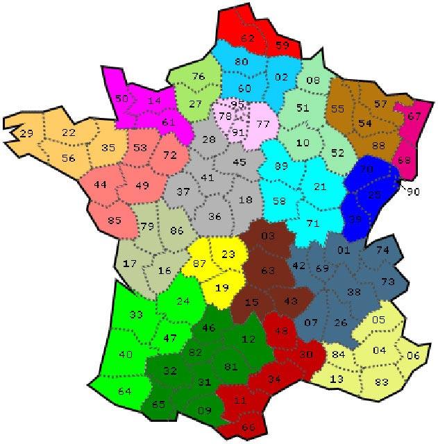 France avec les départements