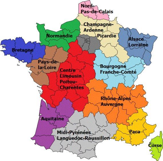 Nouvelle carte de france avec les régions