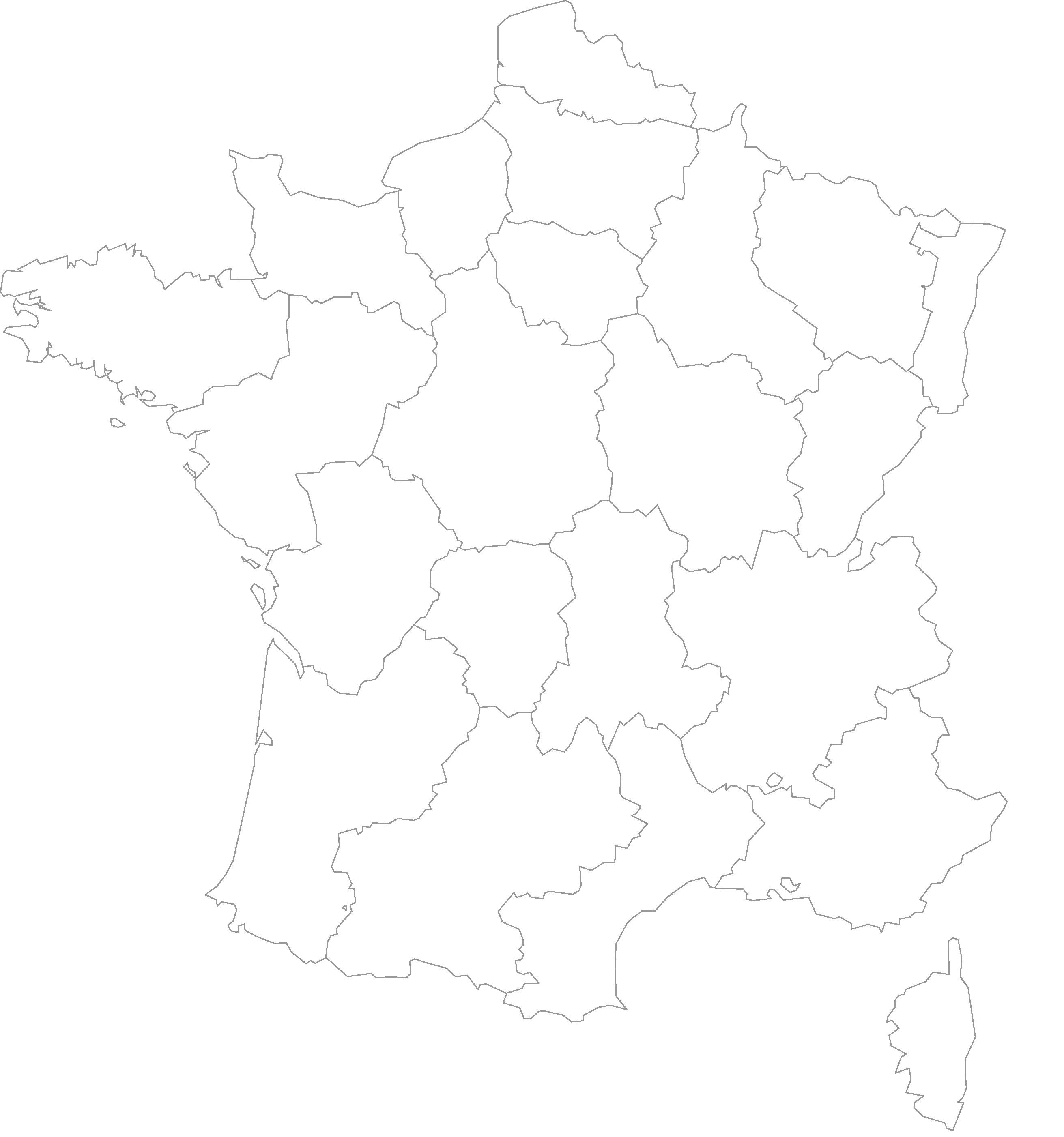 Carte de france des régions vierge