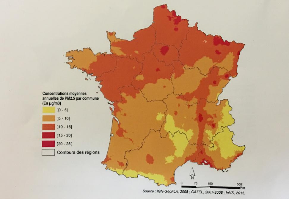 Carte de france pollution