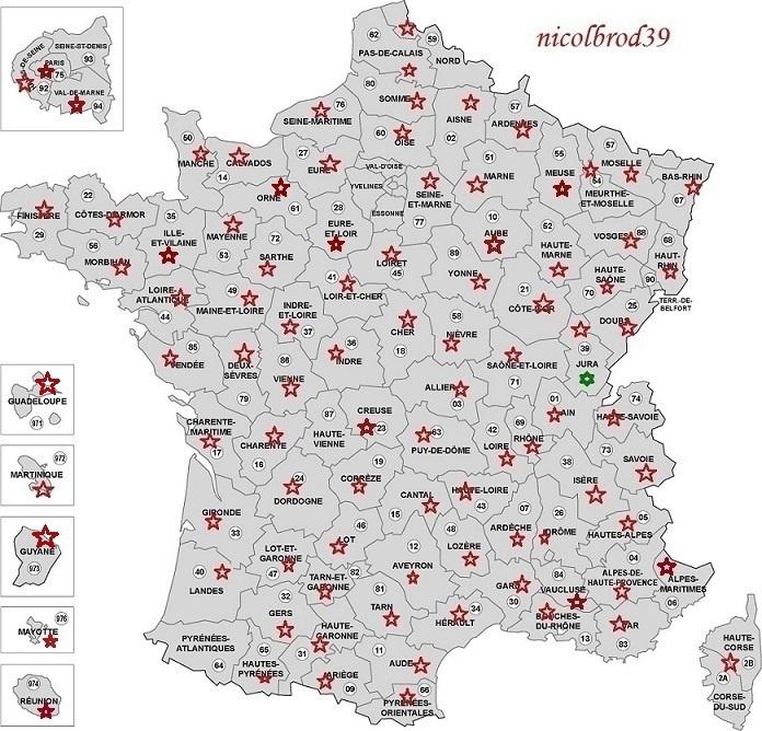 Carte des d2partements francais