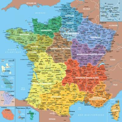 Carte de france avec villes et départements