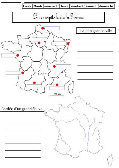 Carte des villes de france à compléter