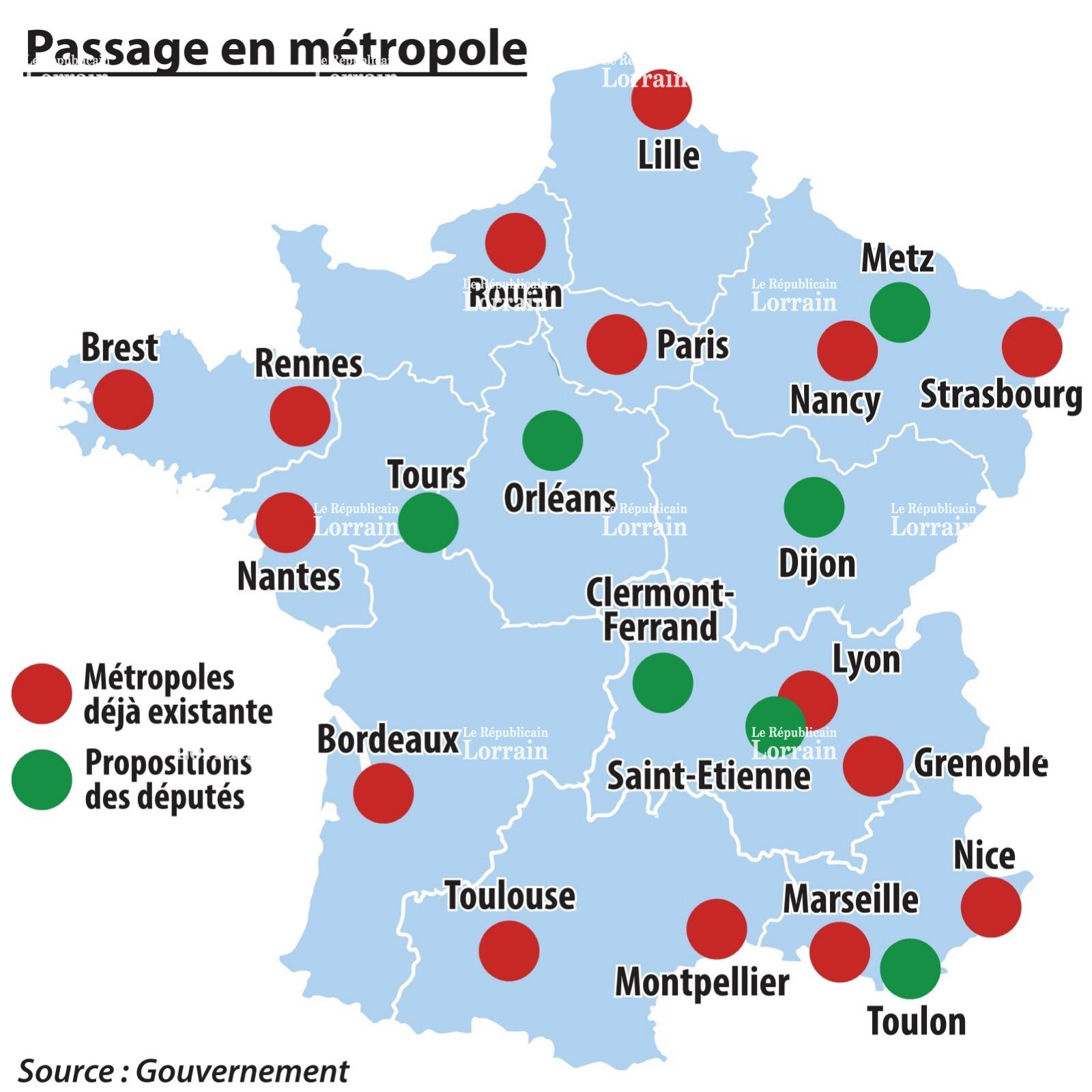 Carte de la france grandes villes