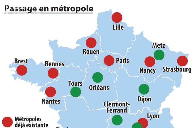 Carte des plus grande ville de france