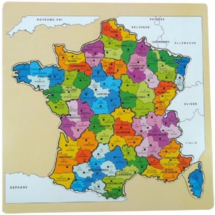 Carte des régions et départements de france à imprimer