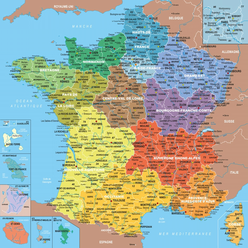 Carte des départements de la france