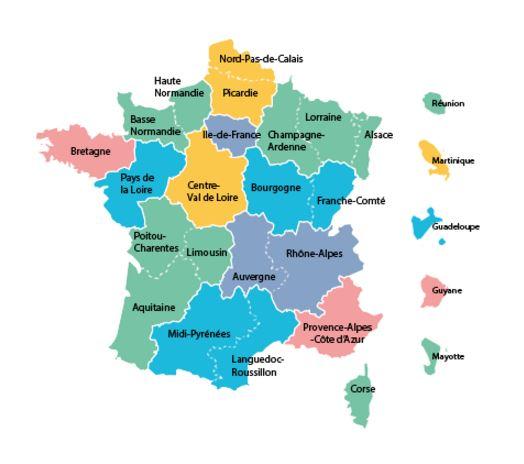 Nom des régions de france 2016