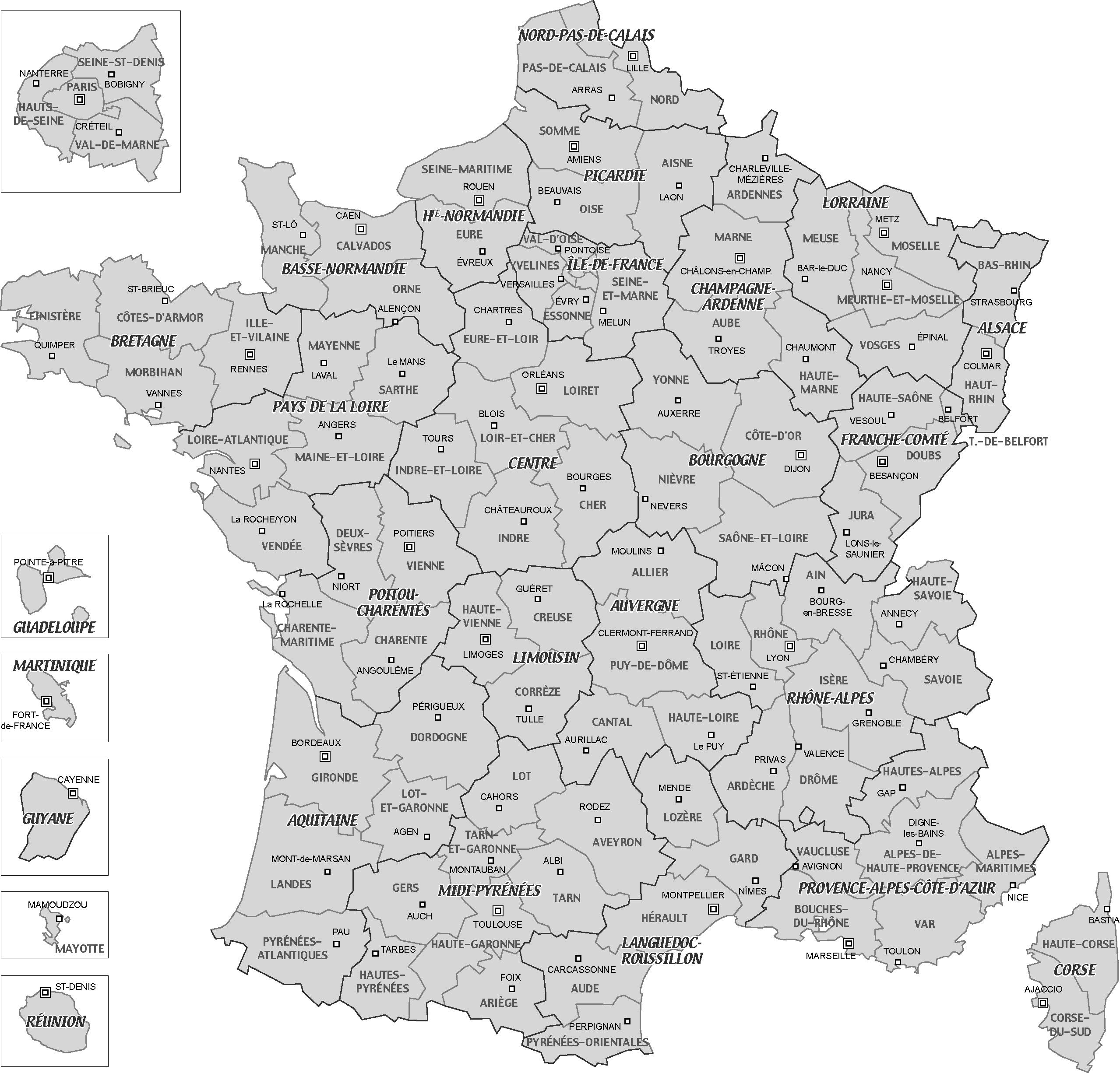 Carte de france avec département et région