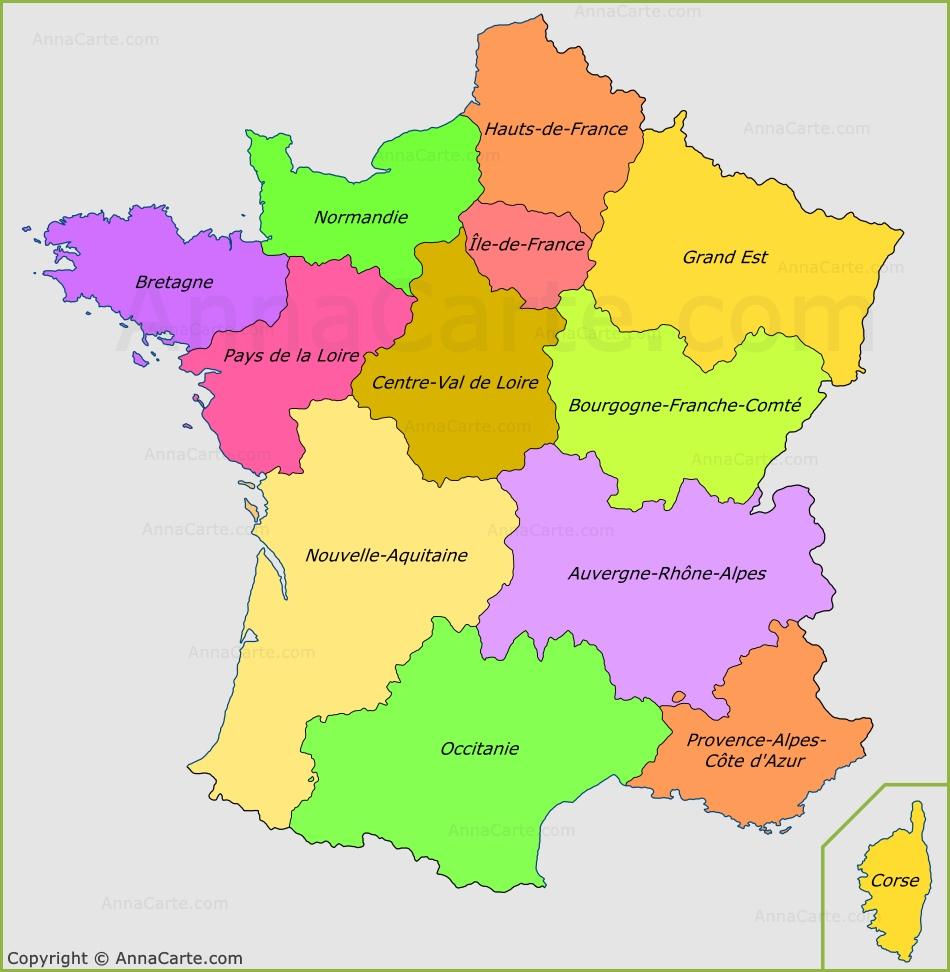 Carte des france des régions