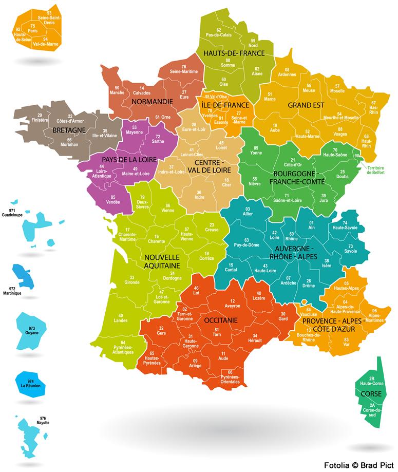 Carte region departement